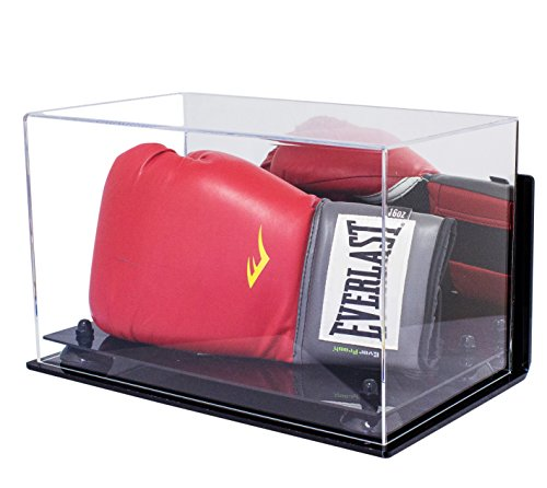Deluxe Acrylic Single or Double Boxing Glove Display Case with Black Risers Mirror and Wall Mount (A011-BR) ()