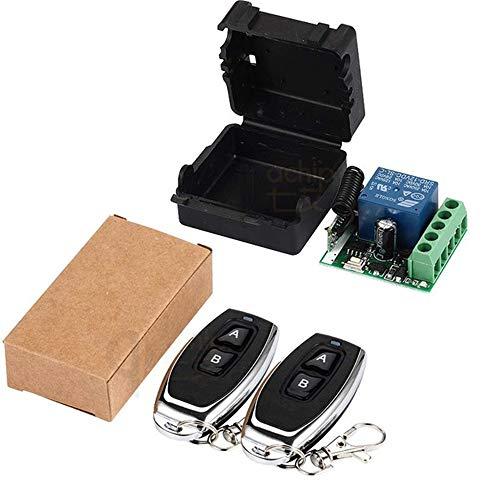 QIACHIP 433Mhz Universal Wireless Remote Control Switch DC 12V 1CH Relay Receiver Module RF Transmitter 433 Mhz Remote Controls (2 Transmitters 2 Button+ 1 Receiver 1CH)