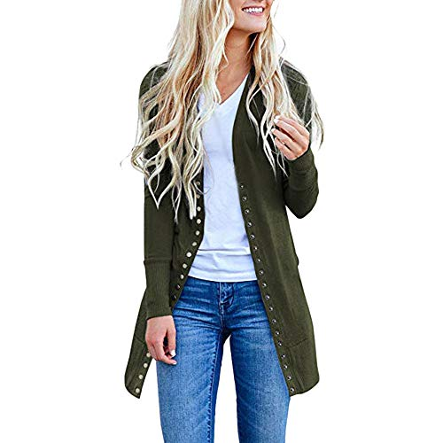 - Sunhusing Womens Long Snap Button-Down Knitwear Cardigan Solid Color Fashion Sweatshirt