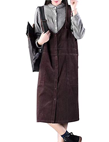 Flygo Women's Button Front A-line Midi Long Corduroy Pinafore Overall Dress Suspender Skirt with Pockets (One Size, Dark Reddish Purple) (Bib Knee Length)
