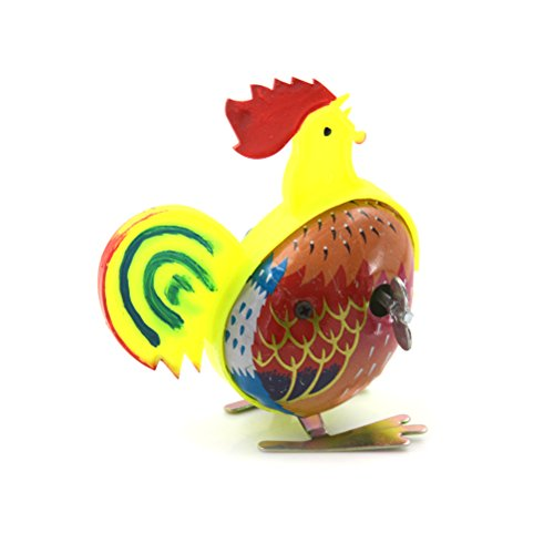 Jiabetterniu 1 Pc Funny Wind Up Cock Walking Rooster Metal Shakeing Crawling Animal Fun-Filled Classic Educational Wind-Up Clockwork Spring Toys Kids Gift Party Favors ()
