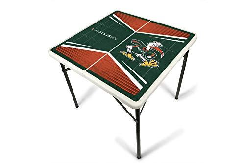 PROLINE NCAA College Miami Hurricanes 2.5' x 2.5' Folding Plastic Tailgate Table