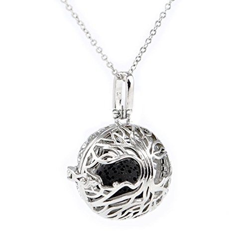 Sier Tree Aromatherapy Perfume Essential Oil Diffuser Necklace Locket Lava Stone (Black) (Sier Oil)