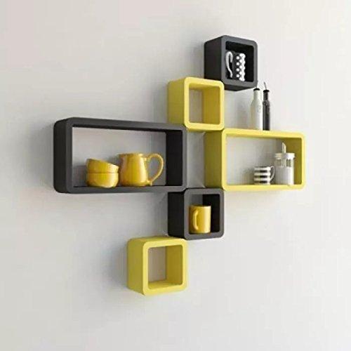 Onlineshoppee MDF Cube Shape Floating Wall Shelves Set of 6