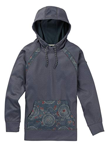 Burton Women's Crown Bonded Pullover Hoodie, Dark Slate Heather / Domo Print, Dark Slate Heather/ Domo ()