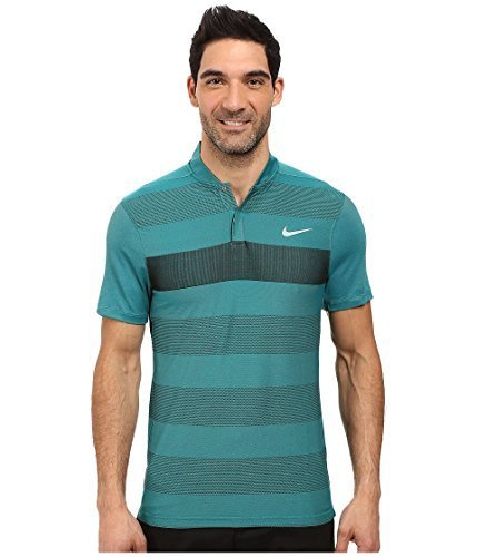 Nike Men's Fly Swing Knit Stripe Alpha Golf Polo T-Shirt (Rio Teal/Small)