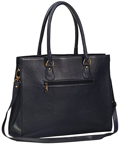 ZipperNext Genuine Leather Tote handbag Shoulder Bag Women's Leather Laptop Bag with compartment for 15.6 Inch Laptop