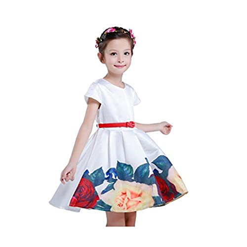 belababy 9T Teen Girls Flowers Dress Spring Tutu with Red Belt