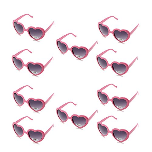 Pack of 10 Pink Heart Shaped Plastic Lens Sunglasses for Womens and Child in Party Festival (Pink) -