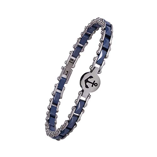 Ming Zhen Mz Jewelry Women's Ceramic Bracelet Stainless Steel Link Bracelet 8inch (Blue, Boat -