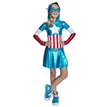 Rubies - Disfraz oficial de Marvel para niña con vestido y capucha de Capitán América