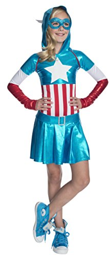 Captain Marvel Girl Costume (Rubies Marvel Classic Child's American Dream Hoodie Costume Dress, Large)