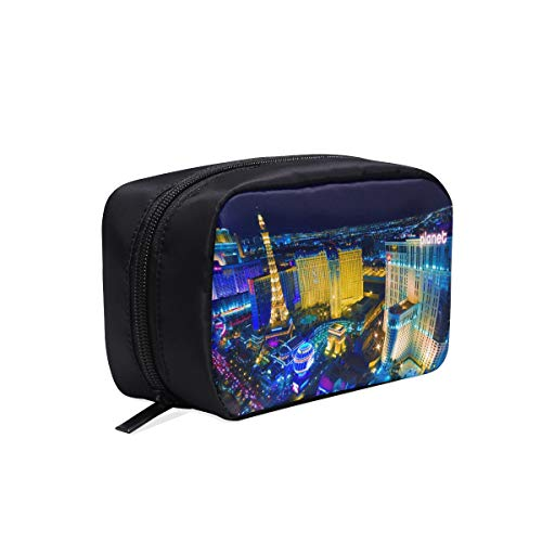Las Vegas Avenue Nevada Usa Night Portable Travel Makeup Cosmetic Bags Organizer Multifunction Case Small Toiletry Bags For Women And Men Brushes Case ()