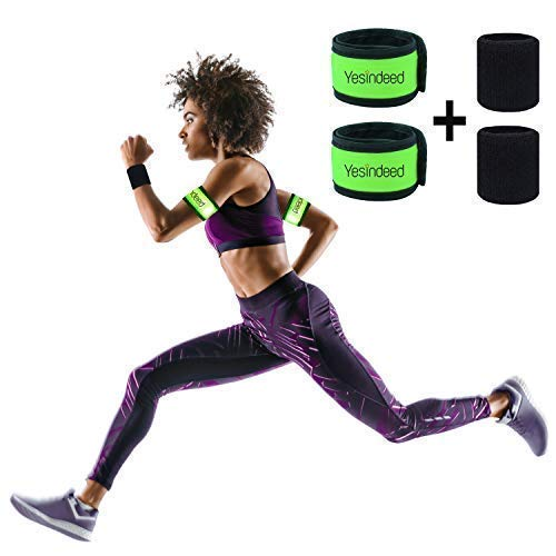 (LED Armband Runner Lights 2-Pack – Glow-in-The-Dark Running Lights for Runners, Joggers, Walkers & Cyclists – Light Up LED Bracelet Reflective Running Gear Slap Band for Safety + 2 Bonus Sweat Bands)