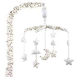 Gold and White Musical Mobile With Moon, Clouds and Stars by The Peanut Shell