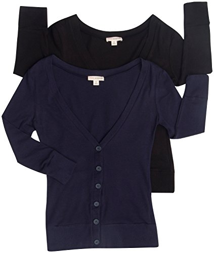 2 Pack Zenana Women's V-Neck Button Up Cardigans Small Black