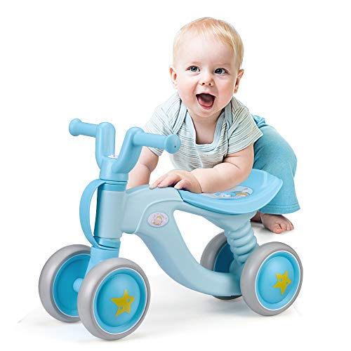 Luddy Baby Balance Bike Bicycle Toddler Walker Children Walker 18-36 Months Toys No Pedal for 2 Year Old Infant 4 Wheels Toddler First Birthday Gift Bike (Blue)