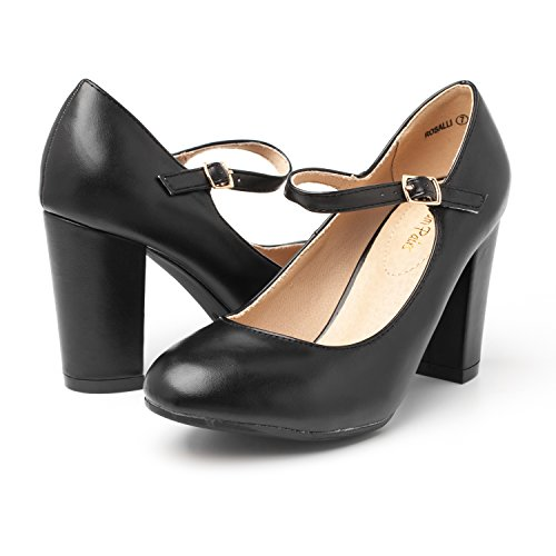 Pu DREAM Versatile Pumps Black Dress Womens Elegant New PAIRS Shoes Gloria Platform Stiletto Classic Heels rwvTq6rY4x