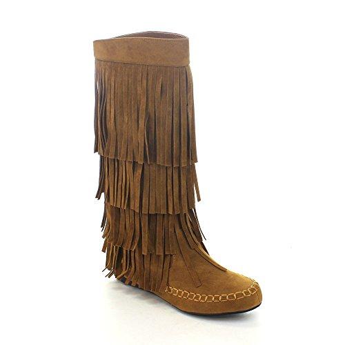 Adriana Mudd 55 Moccasin Layers Fringe Moccasin Boots Rust (6 B(M) US, Rust)