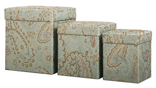 Jennifer Taylor Home, Set of 3 Fabric Covered Storage/Gift Boxes, Multi-Size Set, Seamist Green, Lined, (Fabric Covered Box)