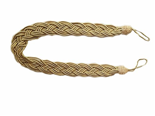 Gold Hand Woven Rope - Nanami Chic 2 Pieces Fine Hand Tied Curtain Clip, Buckle Holdback Fabric Drapery Tassels Curtain Tiebacks/Tassel Window Curtain TieBacks Knitted Braided Curtain Cord Rope Buckle (Gold E)
