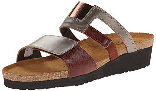 Naot Women's Nancy Wedge Sandal, Pewter Leather/Luggage Brown Leather, 38 M EU / 7 B(M) US by NAOT