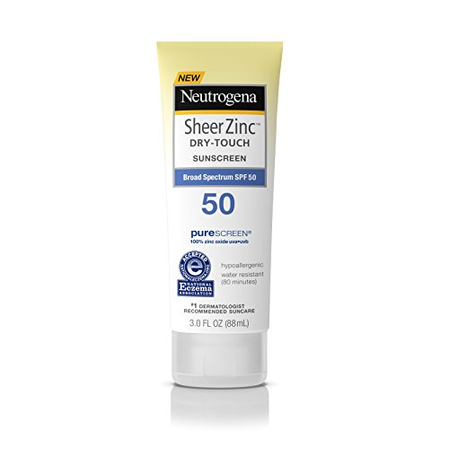 Neutrogena Sheer Zinc Oxide Dry-Touch Sunscreen Lotion with Broad Spectrum SPF 50, Water-Resistant, Hypoallergenic & Non-Greasy Mineral Sunscreen, 3 fl. oz ()