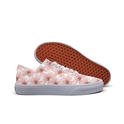 (SERXO Cherry Blossom Colorful Skateboard Shoes Women Walking Sneakers Wide Width)