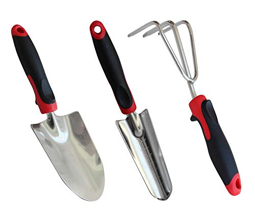 TABOR TOOLS D124A 3-Piece Garden Tool Set with Rubberized Non-Slip Handles, Stainless Steel, Includes Hand Trowel…