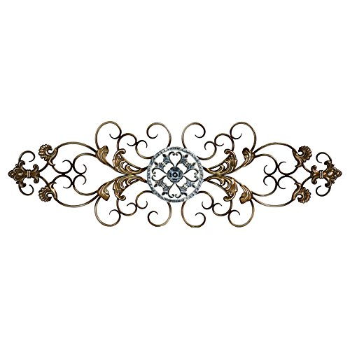Stratton Home Decor SHD0234 Traditional Scroll Wall Decor, 36.00 W X 0.50 D X 11.50 H, Champagne and Distressed Blue