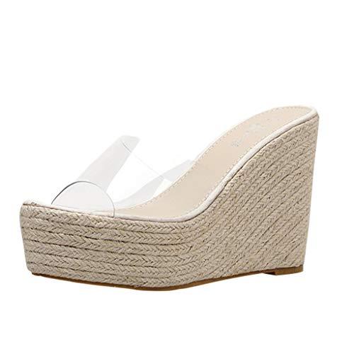 PAQOZ Women's Sandals, Elegant Summer Lady Leisure Platform Hemp Sandals Wedge Beach Slippers (Beige, 40)