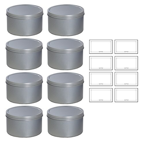 (Silver Deep Metal Tin Containers with Screwtop Twist Lids 16 oz (8 Pack) + Labels)