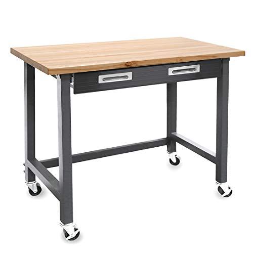 Seville Classics WEB484 UltraGraphite Wood Top Workbench on Wheels with Sliding Organizer Drawer Table, 48