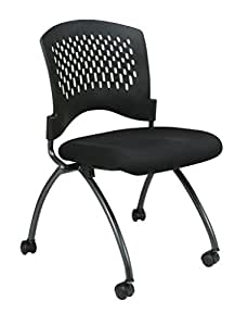 Office Star Deluxe Ventilated Plastic Back FreeFlex Coal Seat Armless Folding Chair with Casters, 2-Pack, Titanium Finish