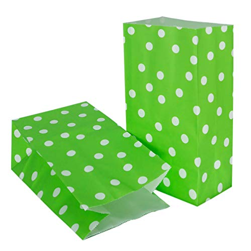 50 Pcs Paper Party Favor Bags Green Paper Gift Bags Printed Kraft Paper Bags Polka dot for Sweets Biscuits Nuts Chocolates Christmas Gifts Birthday Wedding Party Supplies (5.1 x 3.1 x 9.4 in )