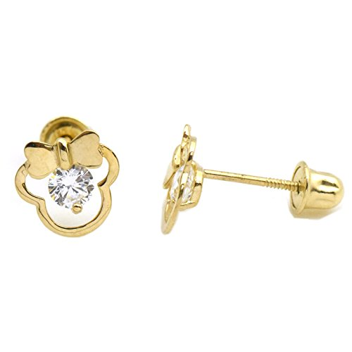 14K Gold Safety Screw Back Earrings for Girls Womens Mouse Shape Ribbon with Cubic Zirconia