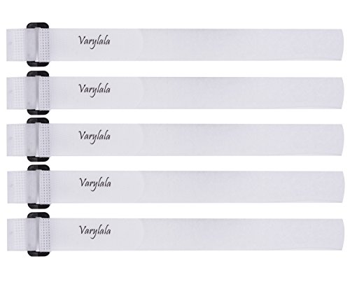 - 5 Pcs Hook and Loop Securing Straps Tie Downs Fastening Straps (1''x24'', White)