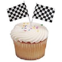 CakeDrake The CARS Nascar RACING Checkered Flag 24 CUPCAKE Topper Decoration Picks Pics D