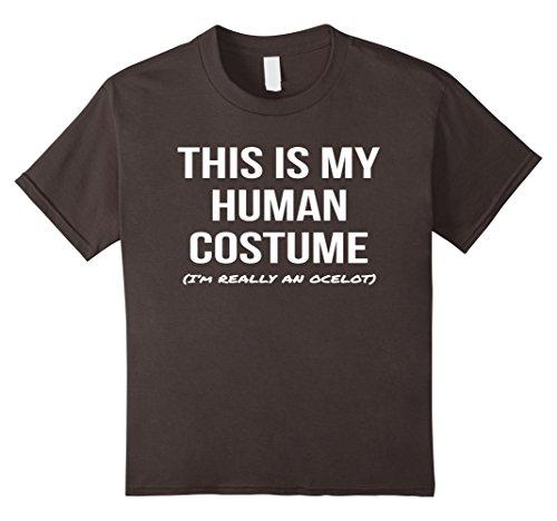 Kids Human Costume I'm an Ocelot Shirt Halloween Cosplay Tee 10 Asphalt