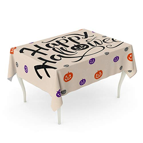 Tarolo Rectangle Tablecloth 52 x 70 Inch Black Happy Halloween Lettering Pumpkins in Orange Violet and Gray Colors Trick Treat for Party Magazines Creepy Table -