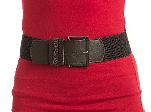 Womens Timeless Design Brown Stretch Belt (Brown Jeweled Dress)