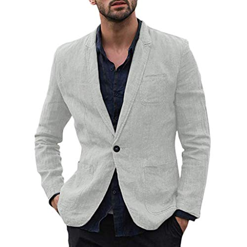 Men's Suits QUNANEN Overcoat Slim Fit Cotton Blend Solid Long Sleeve Thin Suits Blazer Jacket Outwear Tunic Tops Coat Gray