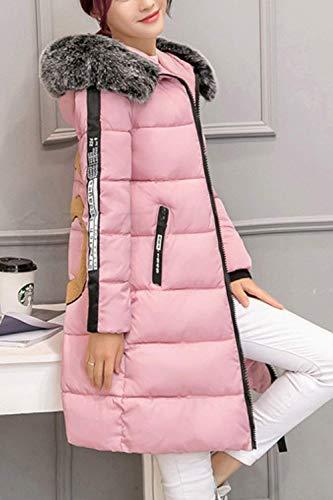 Talla Plumas Parka De Acolchado Manga Imitación Invierno Battercake Pink Con Piel Mujeres Largos Abrigo Espesar Grande Capucha Casuales Caliente Pluma Mujer Larga qnXwqx0vSR