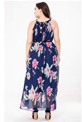 Col Manches Imprime Bohme Longue Robes Femme Florale Plage Bleu Maxi Taille Grande Haute de Maxi Taille Robe t Rond sans lastique Robe w0FpaxqZx