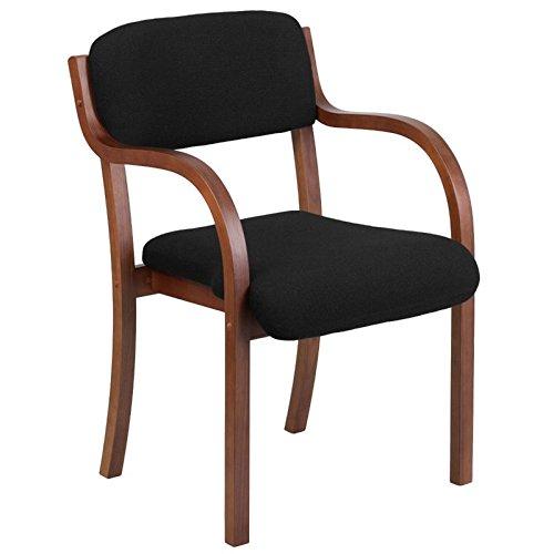 Scranton & Co Fabric Reception Chair in Black and Walnut by Scranton & Co