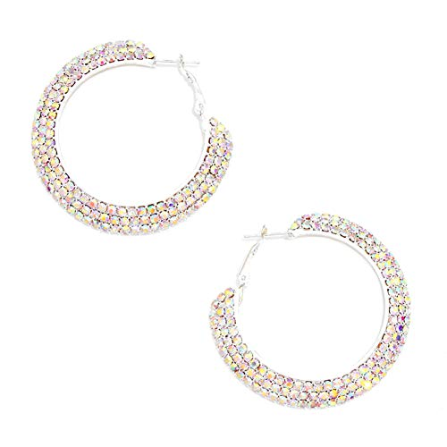 (Chunky, Large Wide Pave Style Iridescent Aurora Borealis Rhinestone Hoop Earrings 2