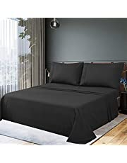 JustLINEN Bedding Bed Sheet Set - 300 Thread Count Sheet Set 50% Cotton & 50% Polyester Soft and Breathable Fabric 3 Piece Single Bedding - Shrinkage & Fade Resistant -Easy Care (Single, White)