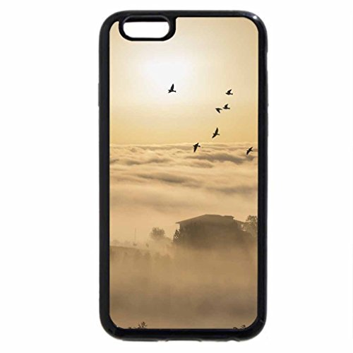 iPhone 6S Case, iPhone 6 Case (Black & White) - birds flying over farms in low clouds