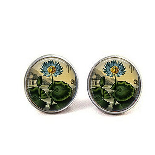 Indian Heirloom Blue Lotus Or Water Lily Cufflinks - Blue Lotus - Blue Lily - Gardener Gift - Vintage India - Flower Jewelry
