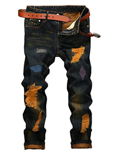YTD Mens Distressed Ripped Biker Slim Jeans Stretched Moto Denim Pants (W36(Tag 38), Gold)